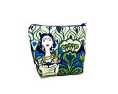 Zipper Pouch, Fabric Pouch, Frida Kahlo Pouch, Coin Purse, Change Pouch, Pouch, Gift for Her, Gift Under 20, Frida Kahlo in Garden in Marine