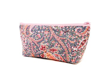 Boho Pouch, Medium Zipper Pouch, Fabric Pouch, Small Cosmetic Bag, Small Make Up Bag, Liberty Pouch, Paisley Pouch, Pink and Grey Paisley