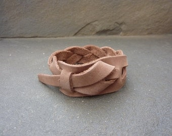 Braided Safari Taupe Leather Cuff, Men's Leather Bracelet. Woman's bracelet, Bracelet, Free shipping