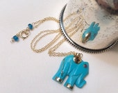 55% OFF SALE Turquoise Gemstone Necklace Carved Turquoise Elephant Slice Choker Beaded Turquoise Necklace Gold Filled Chain Layering Necklac