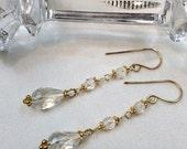 VALENTINES SALE Clear Crystal Quartz Dangle Earrings - Wire Wrap Rock Crystal Gold - Handmade Clear Quartz Gemstone Jewelry, Minimalist Jewe