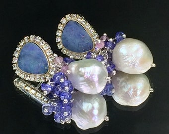 Black Opal Earrings, Australian Lightning Ridge Earring, Diamond Look, White Baroque Pearl, Tanzanite Cluster Earring