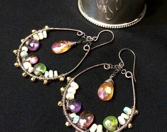 25% SALE Multicolor Gem Hoop Earrings Wire Wrap Oxidized Silver Hoops Amethyst Ethiopian Opal Pink Topaz Exotic Unique Handmade Bohemian Ear
