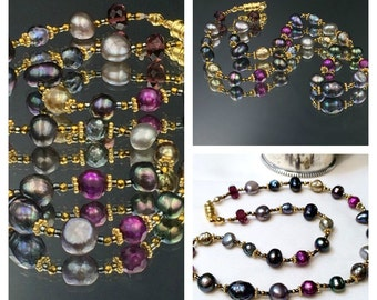 Multicolor Pearl Choker Necklace Mixed Metal Hematine Gold Pyrite Laser Facet Pearls Jewel Tone Pearl Choker Fall Fashion