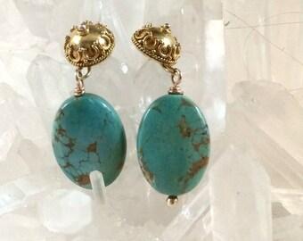 CUPID SALE Turquoise Post Earrings Gold Vermeil Fancy Post Earrings December Birthstone Gift for Her Turquoise Dangle Earrings