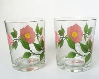 Vintage Franciscan Desert Rose Drinking Glasses, Set of 2 Tumblers, Rocks Glasses, Old Fashioned