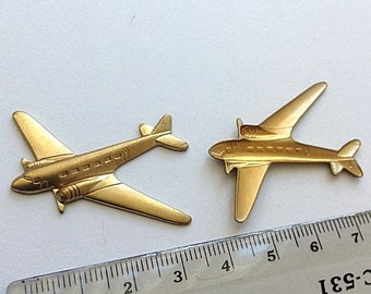 Airplane brass stamping, golden brass, raw brass, brass pendant