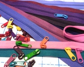 Purple Shades 3mm Zipper by the Yard + Candy Colored Long Pulls