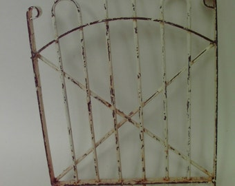 Fairy Garden Gate White rustic trellis - accessory supply for miniature fairy garden or mixed media assemblage 9 inches