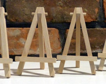 Set of 10 Small Wooden Easels - Natural Wood - ACEO
