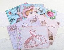 Scrapbook Set- Destash, Embellishment -Vintage Ball Gown- Marie Antoinette -Notecard Paris -French Mini Album -Altered Art- Journaling