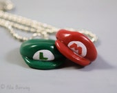 Mario and Luigi Hat BFF Necklaces, Personalized Initials