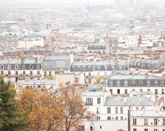 Paris Photography, Rain Soaked Parisian Rooftops, Paris in the Rain, Neutral Decor, Grey, Paris Blue, Montmatre rooftops, Christmas in Paris