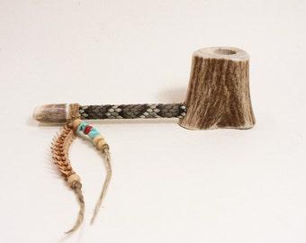 Hand Made Deer Antler Pipe / Rattlesnake Skin  / Rattlesnake Vertebra / Turquoise Beads / Bone Beads