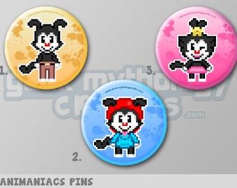 "Animaniacs Yakko, Wakko, and Dot Pixel Art 1.5"" Pin Button or Magnet"
