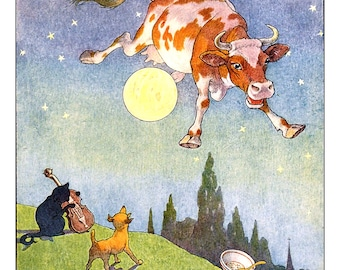 Mother Goose, Cow Jumped Over the Moon, Art for Kids, Cat, Dog, Nursery Decor, Funny, Silly Rhyme, Giclee, Nursery Rhyme, Storybook Print