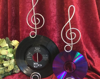 Music Note Centerpiece Treble Clef Sign Card Holder  Wire Stand Record  CD's Table numbers and Photo Holder MUSIC LOVER  wedding theme