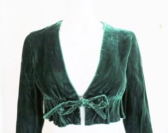 1960s Dark Green Velvet Bolero Jacket - Crop Top