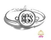 White Monogram Bracelet, Monogram Bangle, Monogram Jewelry, Bridesmaid Gift, Personalized Bracelet - Style 313