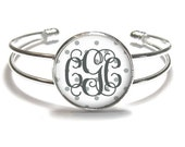 Monogram Bracelet, Monogram Bangle, Monogram Jewelry, Bridesmaid Gift, Personalized Bracelet - Style 476