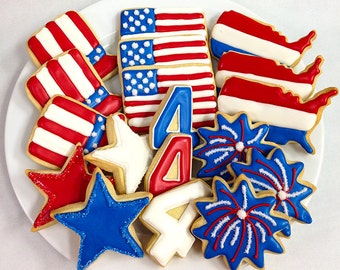 FOURTH of JULY COOKIES, Decorated Sugar Cookie Gift Tin, 18 Cookies