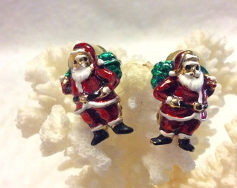 Santa Claus enamel on metal clip on earrings