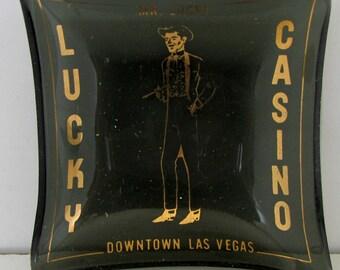 Vintage  Mr. Lucky Ashtray Las Vegas Souvenir Ashtray Cowboy Casino Ash Tray 1960s to 1970s