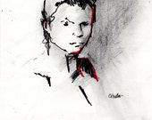 """Original Mixed Media Drawing - Female Figure - """"Denise, Denise"""" - 8 x 10 on Drawing Paper"""