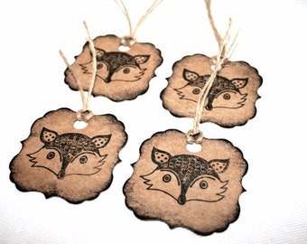 CLEARANCE - Fox Gift Tags - Novelty Gift Wrap Decoration - Craft and Black - Handmade - Weddings