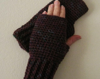 Crocheted Fingerless Gloves / Wrist Warmers - Plum Jam