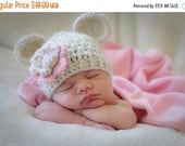ON SALE Crochet Baby Hat, Baby Girl Crochet Hat with Ears, Beige and Light Pink, Baby Girl Hat, Crochet Hat, 0-3, 3-6 or 6-12 months, MADE T