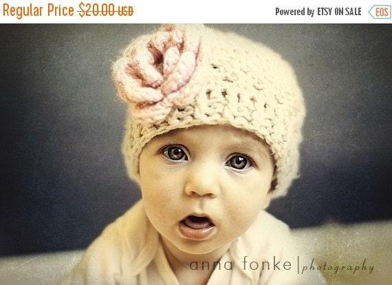 ON SALE Crochet Baby Beanie Hat, Crochet Hat With Flower,  Baby Girl Hat, Toddler Crochet Hat, Baby Winter Hat, Baby Girl, Infant Hat, MADE