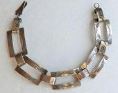 Vintage Sterling Link Bracelet Navajo Stamped Designs ca 1950