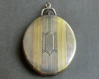Art Deco Sterling 14K Locket Tri-Color Mirror Inside Elgin American Locket 36 grams