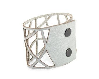 Laser Cut Leather Cuff Bracelet - Geometric Curved Pattern - Gray (Small, Medium, Large, XL) - Modern Jewelry - Gifts for Her