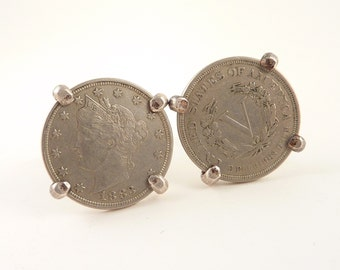 SALE --- 1883 Antique Sterling Liberty Nickel Cuff Links