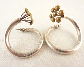 Unique Vintage Sterling and Brass Modernist Spiral Flower Post Earrings