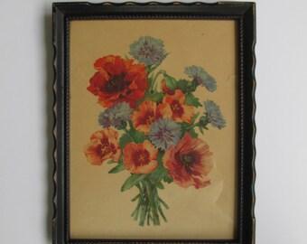 Lovely Vintage Perry King Floral Print - Framed