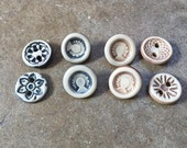 8 Handmade Custom ceramic Buttons, RESERVED for Wild Cotton Jewelry