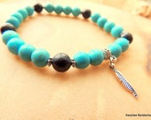 Turquoise and Onyx Men's Stretch Bracelet, Native Style, Feather Charm, Handcrafted Jewelry