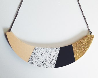 Statement Necklace  - 'Party' - glitter, navy, pink, speckles