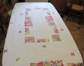 Large Bark Cloth Tablecloth 50's Vintage in Sweet Fruit Pattern