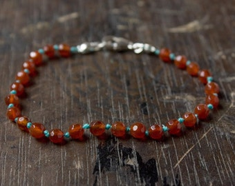 Delicate Gemstone Bracelet, Faceted Carnelian Beaded Bracelet