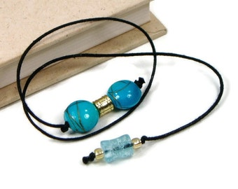 Beaded Bookmark Aqua Blue Book Book Thong Cord String Bookmark Gift under 5 Book Club Teacher Gift