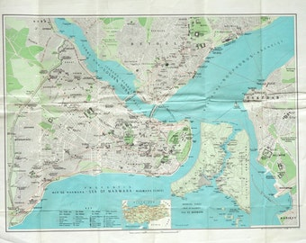 1960 Large Vintage Map of Istanbul - Poster Sized