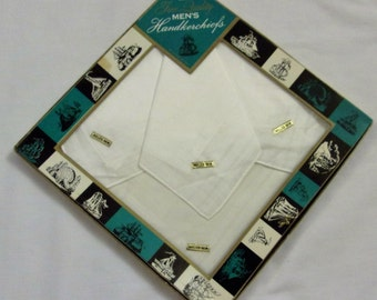 Vintage Men's Handkerchiefs, Set of Four, Cotton Handkerchiefs, NOS, Rolled Hem, Vintage Box, White Hankies