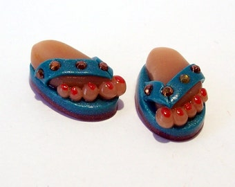 Flip Flops - Handmade Polymer Clay BEADS with Feet - Turquoise with Copper Studs