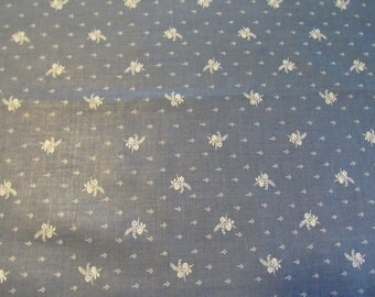 Free Shipping! Vintage Blue and White VIP Screen Print, Cranston Print Works. 1/2 Yard. 16113