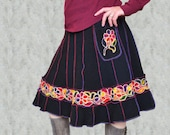 Women's Sweater Skirt Bright Colorful Rainbow Trim Wool Pixie Gypsy Pockets Embroidered Boho Hippie Upcycled Large XL