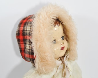 Vintage Childs Red Plaid Winter Hat- Toddlers Size 2